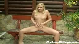 Masturbating on a bench